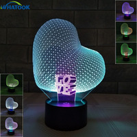 Romantic 3D Heart Shape Love Night Lights Jellyfish Table Lamp Optical Illusion Luminaria USB Led Baby Kids Nursery Gift Decor