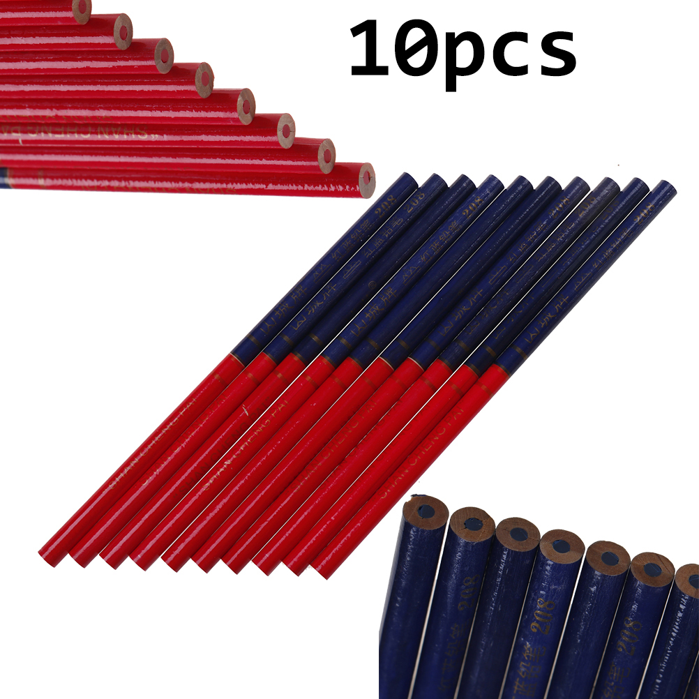 10PCS/Lot Blue And Red Lead Carpenter Pencils For DIY Builders Joiners Woodworking Thick Round Mark Pencil Office Stationery