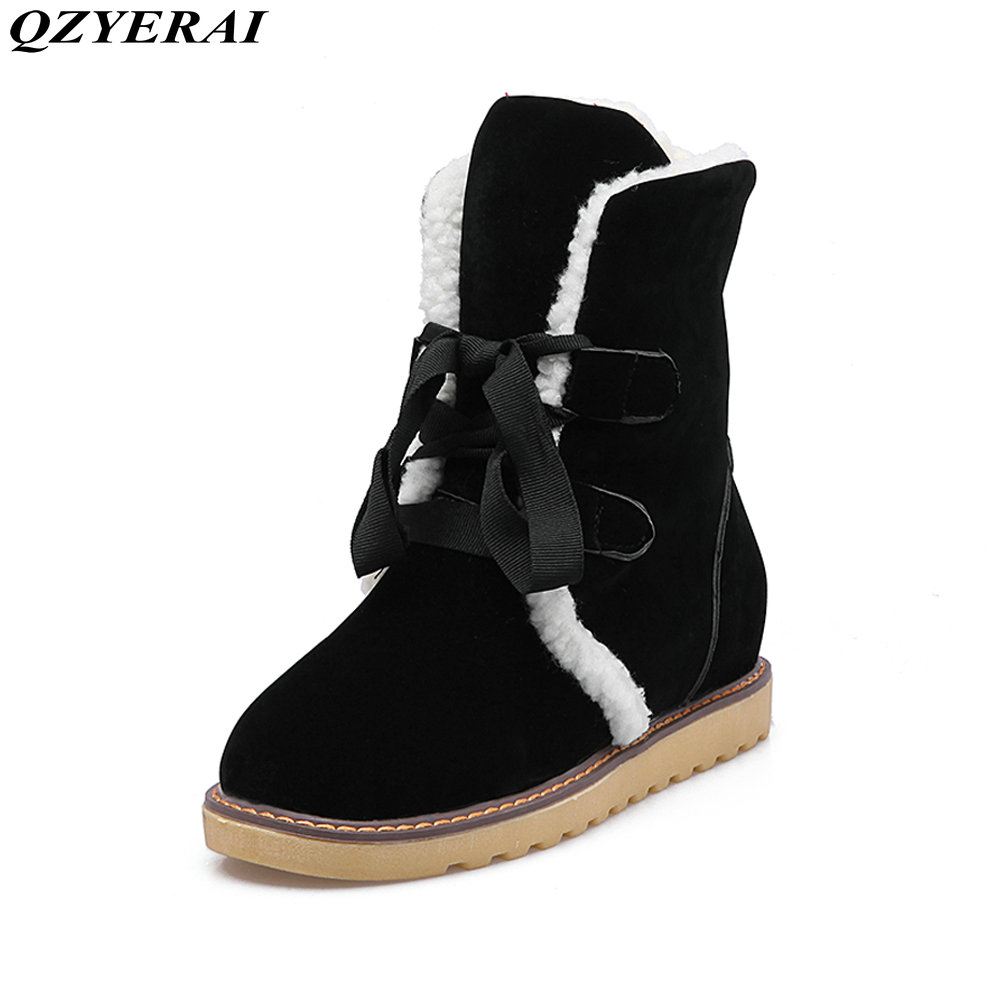dower meSnow boots winter sexy women's boots Korean style warm built in plush women's shoes high quality leather wool production degradable plastic mulch in winter rapeseed production