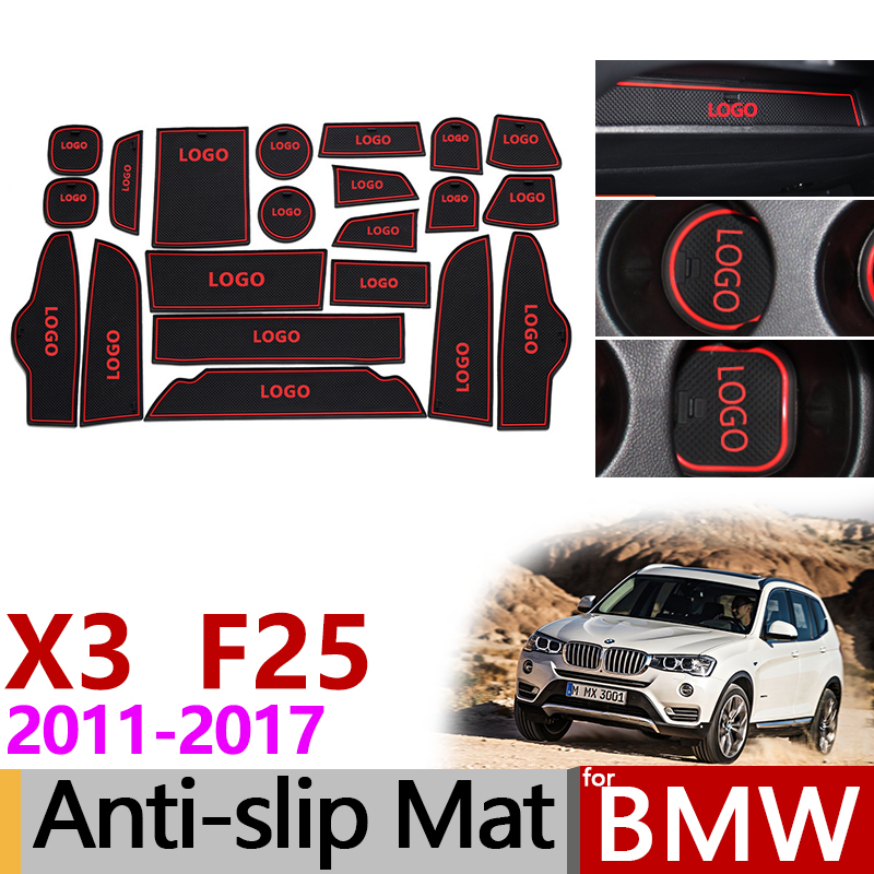 Anti-Slip Gate Slot Mat Rubber Coaster for <font><b>BMW</b></font> <font><b>X3</b></font> F25 2011 2012 2013 2014 2015 2016 <font><b>2017</b></font> <font><b>Accessories</b></font> Car Stickers White/Red image
