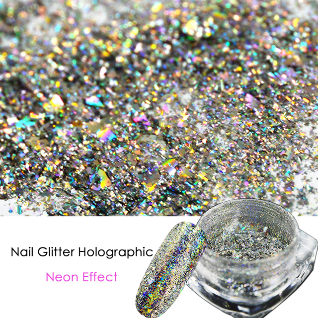 1 Bottle 0.2g Holographic Nail Art Glitter Dust Powder Flakes ...