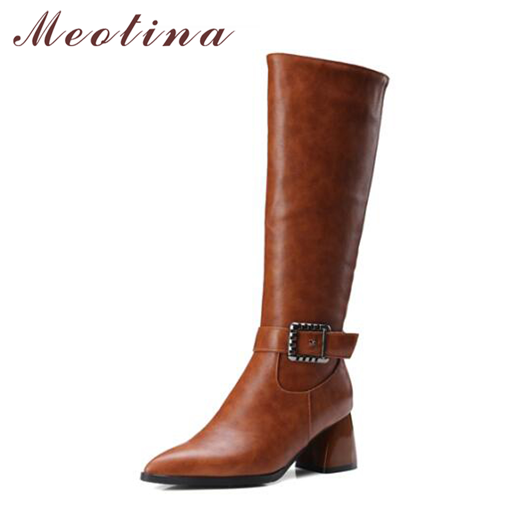 Meotina Winter Women Knee High Boots Snow Boots Fur Motorcycle Boots Pointed Toe High Heels Shoes Zipper Black Brown Size 10 43 hot selling 2015 women denim boots pointed toe tassel patchwork knee high boots crystal thin high heels winter motorcycle boots