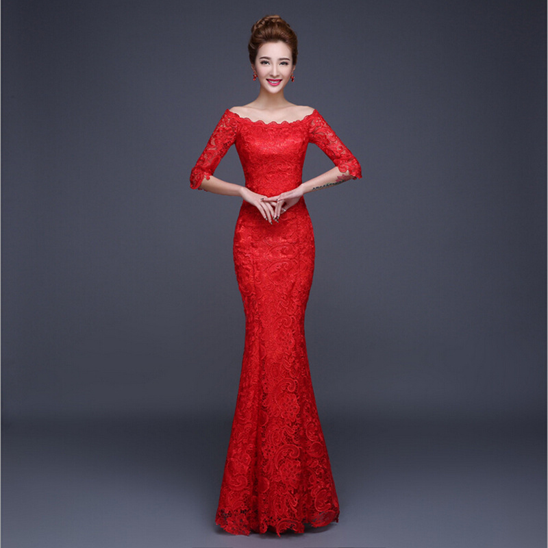Women Floor Length Evening Party Lace Dress Half Sleeve Elegant ...
