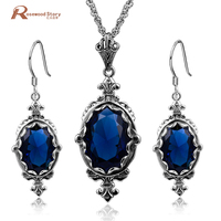 Romantic Jewelry 925 Sterling Silver Sets Created Sapphire Stone Vintage Wedding Accessories Party Pendant Earring Body Jewelry