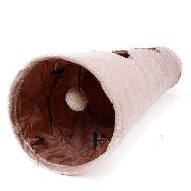 Pet Tunnel with Ball Cat Play Tunnel Funny Cat Long Tunnel Kitten Play Toy Collapsible Bulk Animals Tunnel 2 Holes Easy Pack