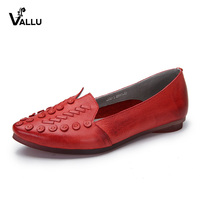 2018 VALLU Spring Handmade Shoes Women Flats Genuine Leather Vintage Pointed Toes Soft Outsole Comfortable Women