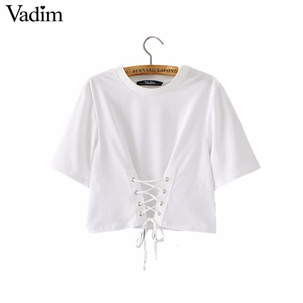 White t shirt crop top - Women Sweet Lace Up Crop Top T Shirt Short Sleeve Casual O Neck Tees Ladies Fashion