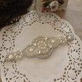 Frete grátis Crystal & pérolas beading Feitas À Mão Acessórios DIY Para Headbands Hairbands partido vestido de noiva faixa cinto componentes DIY