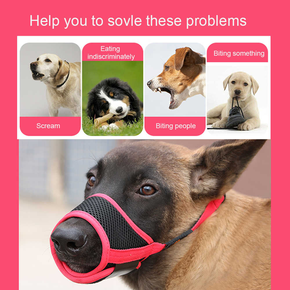 XS-XL Breathable Dog Pet Muzzle Dog Muzzle Mouth Cover Reusable Adjustable Muzzle Guard for Dogs Prevent Biting Barking