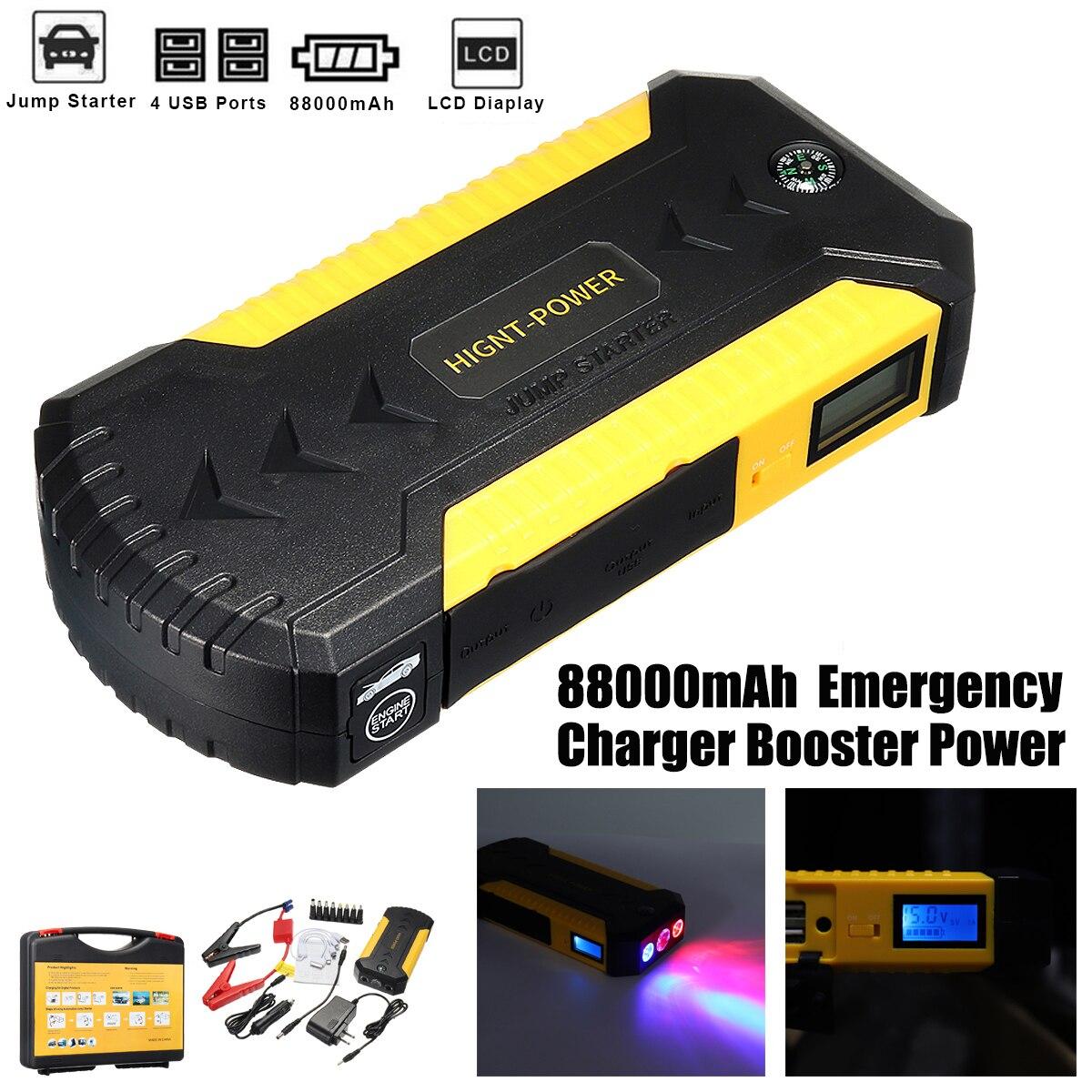 все цены на 88000mAh 4USB 12V Car Jump Starter Emergency Charger Booster Power Bank Battery Jump Starter Tool Set for Auto Starting Device онлайн