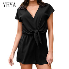 YEYA High Quality Wide Leg Chiffon Jumpsuits Elegant V Neck Short Sleeve Lace-up Summer Playsuits Women Casual Salopette Femme