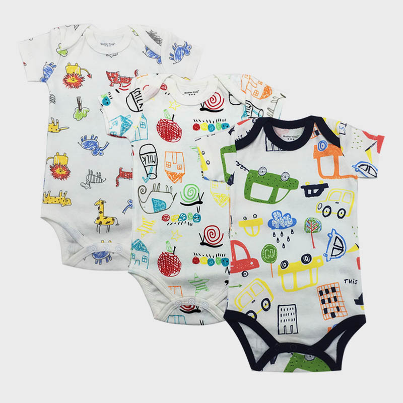 3pcs/lot Baby Bodysuits 100% Cotton Infant Body Short Sleeve Clothing Similar Jumpsuit Cartoon Printed Boy Girl