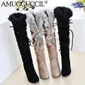 Wholesales Beige Black Lace Up Rabbit Fur Fashion Sexy High Heel Knee high Girls Lady Spring Autumn Winter Womens Boots X297