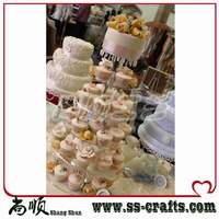 Clear 6 tier acrylic table top wedding cupcakes stand Plexigalss Wedding cupcake Case