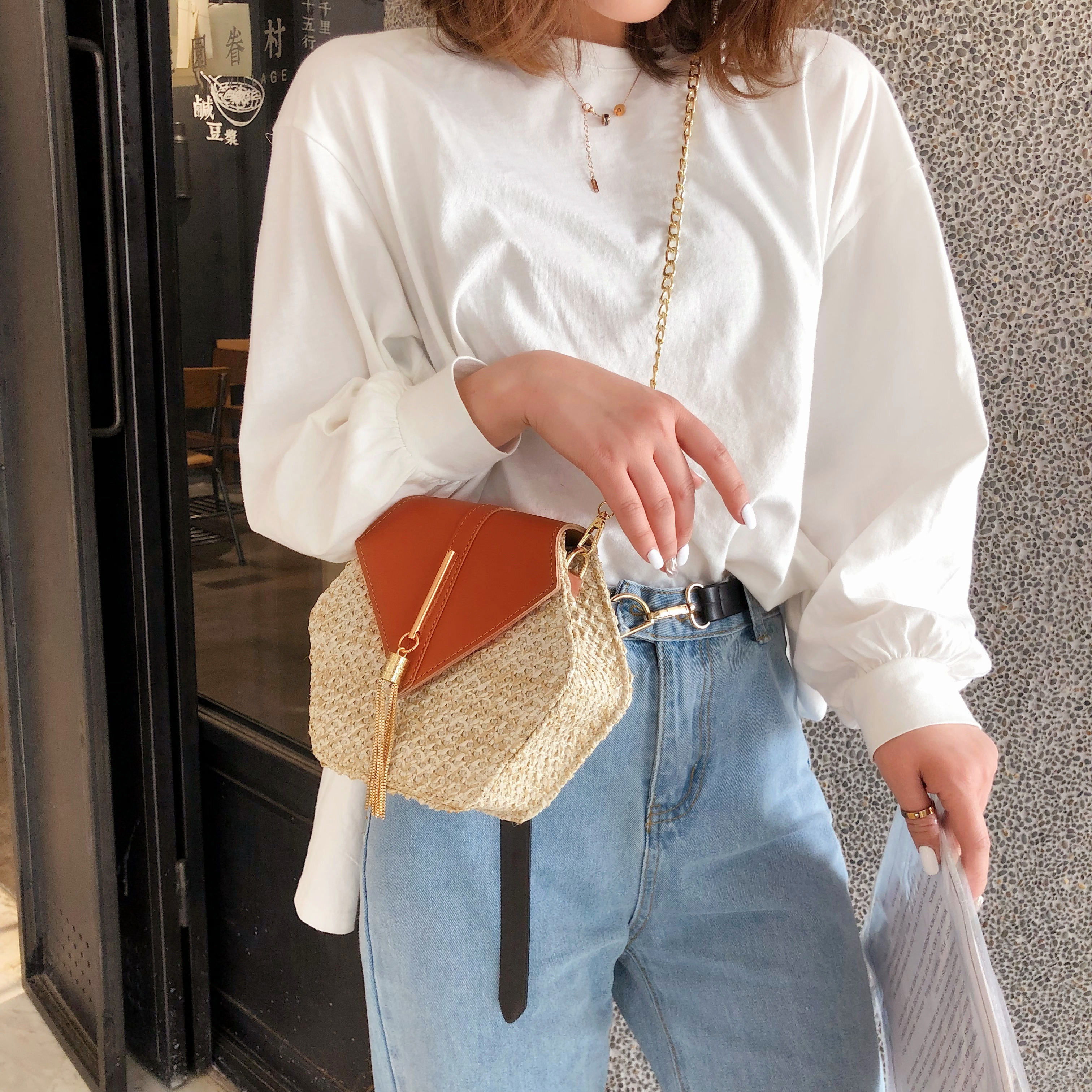 Hexagon Mulit Style Straw+leather Handbag Women Summer Rattan Bag Handmade Woven Beach Circle Bohemia Shoulder Bag New Fashion 5