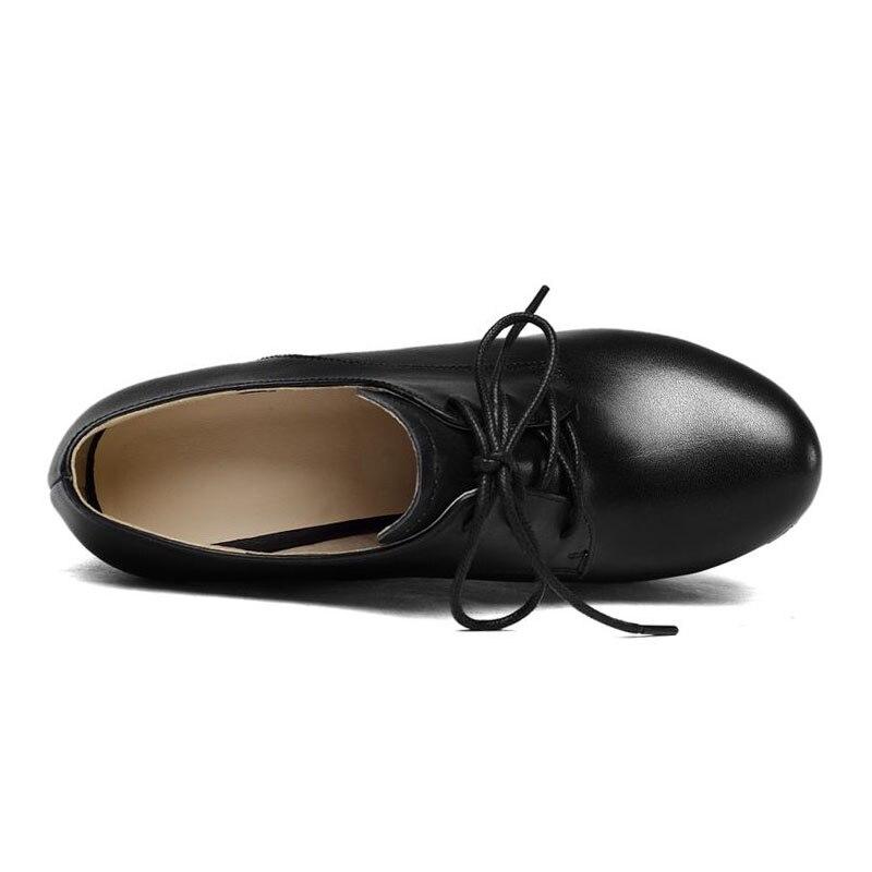 Coolcept ของแท้หนังผู้หญิง Lace Up รอบ Toe Wedges รองเท้าแพลตฟอร์มสีทึบรองเท้าส้นสูงรองเท้าผู้หญิงขนาด 34 39-ใน รองเท้าส้นสูงสตรี จาก รองเท้า บน   3