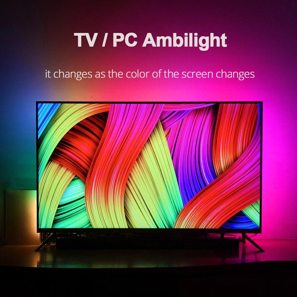 Diy ambilight tv pc sonho tela usb led tira hdtv computador monitor backlight endereçável ws2812b tira conduzida 1/2/3/4/5m conjunto completo