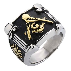 Valily Man Ring Gold Color Freemason Masonic Rings Stainless Steel Fashion Band High Quality Square Ring Jewelry for masculinity