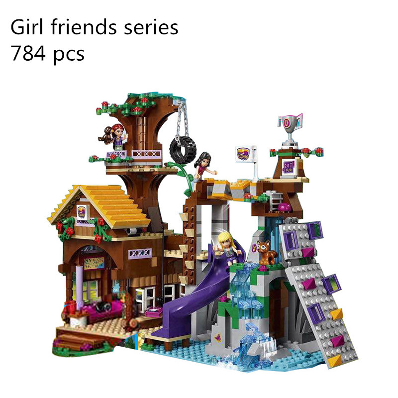01047 <font><b>10497</b></font> 739 pcs Building Bricks Compatible with Lego Friends Blocks Adventure Camp Tree House 41122 Emma Mia Figure Toys image