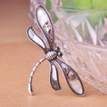 2017 Fashion Woman Stainless Steel Antique Silver Plated Dragonfly Eye Gem Brooch Summer Style Accessories Wholesale And Retail