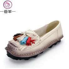 Free shipping fashion National style Retro manual Leather Fringe Shallow mouth Soft bottom Casual shoes women