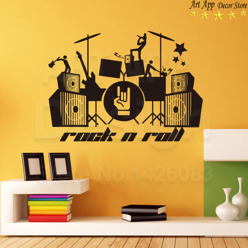 good quality house decor new art design rock and roll vinyl wall