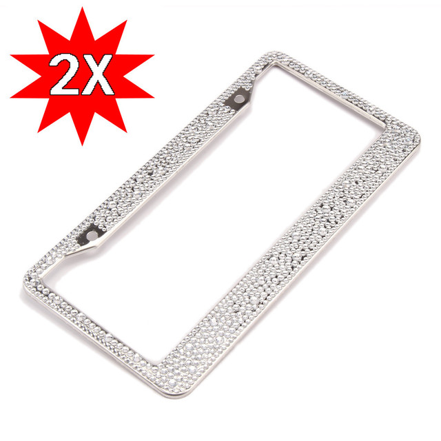 CARPRIE 2 Pcs Bling License Plate Frame Glitter Mixed Crystal ...