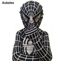 New High Quality Lycra Spandex Black Spiderman Costume Kids Adult Child Venom Spider Man Cosplay Zentai