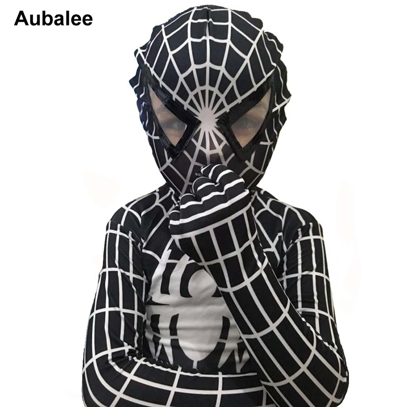 2017 Child Black Spiderman Costume Cosplay Lycra Spandex Jumpsuit Kids Adult Mens Venom Superior Spider Man Halloween Costume