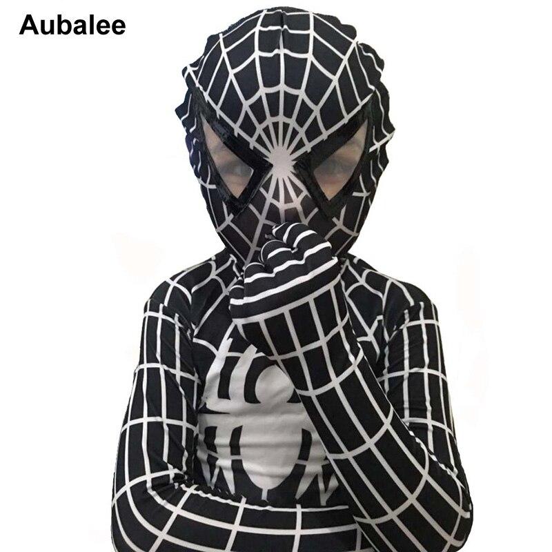2017 Child Black Spiderman Costume Cosplay Lycra Spandex Jumpsuit Kids Adult Mens Venom Superior Spider Man Halloween Costume