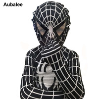 New High Quality Lycra Spandex Black Spiderman Costume Kids Adult Child Venom Spider Man Cosplay Zentai