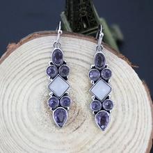 Tisonliz Ретро фиолетовые белые висячие серьги с кристаллами, длинные висячие серьги для женщин, женские Висячие серьги, свадебные ювелирные изделия Brincos