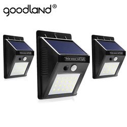Goodland LED Solar Light Outdoor Solar Lamp with PIR Motion Sensor Solar Powered Waterproof Wall for Garden Yard Path Decoration