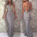 2016 Hot Summer Style Striped Impreso Backless Del Vendaje de Bodycon Del Club Del Partido Del Vestido Sin Mangas de Cuello de O de la Playa Maxi Vestido Largo