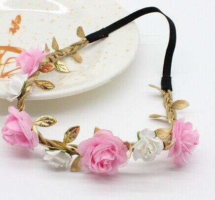 1ks Novinka Rose Flower Čelenka Girls Hairband Bohemian Crown Tiara Květinová Golden Leaves Bandeau turban Vlasové doplňky