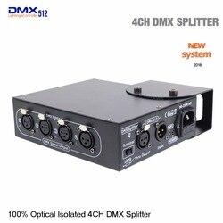 DHL شحن مجاني DMX تحكم 100% البصرية معزولة DMX الفاصل 4 طريقة dmx الفاصل للمرحلة ضوء
