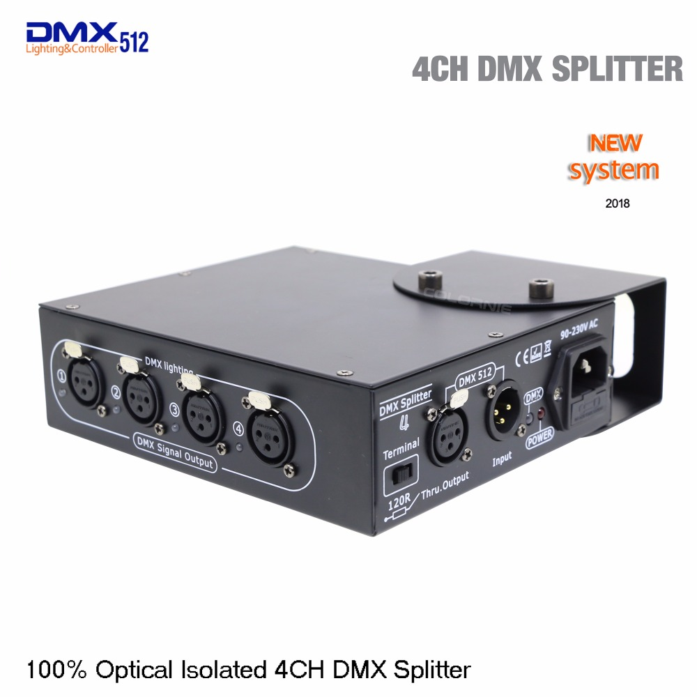 DHL Free shipping DMX controller 100% Optical isolated DMX splitter 4 way dmx splitter for stage light