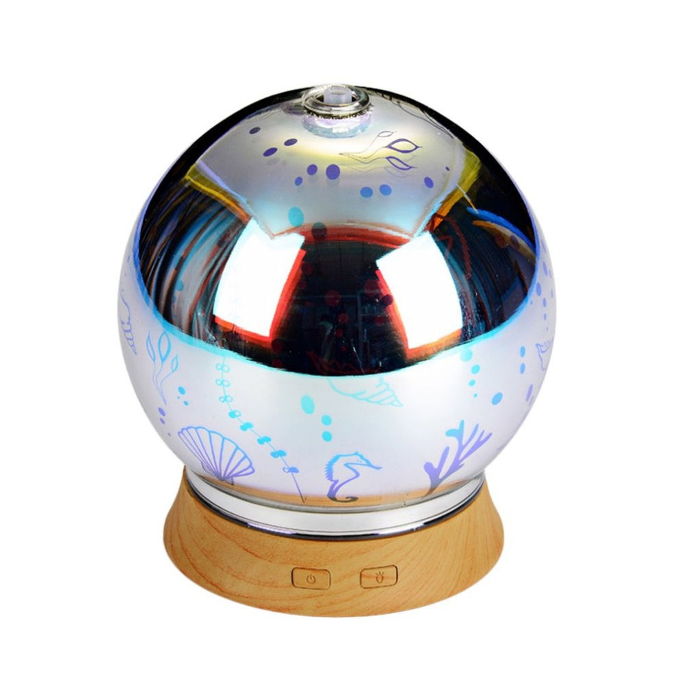 100ML 3D Effect Glass Light Low Noise Essential Oil Aroma Diffuser Ultrasonic Humidifier Aromatherapy Mist Maker
