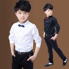 Novas crianças meninos camisas de algodão sólido preto & branco camisa com gravata meninos para 3-15 anos adolescente escola realizando trajes blusa