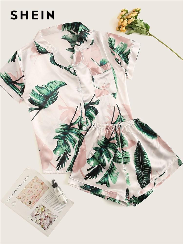 SHEIN Shorts-Sets Pajama-Set Sleep-Wear Satin Tropical-Print Women Summer Pocket Casual