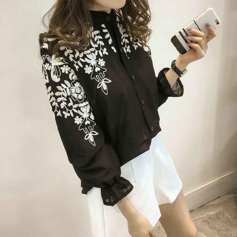Vrouwen Lange Mouwen Borduren Blouse Top Strand Vakantie Zomer Wit Zwart Shirt Casual Solid Katoenen Shirts Plus Size 5XL Nieuwe