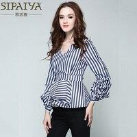 SIPAIYA 2017 New Fashion Striped Blouse Sexy V Neck Long Sleeve OL Blouse And Shirt Women