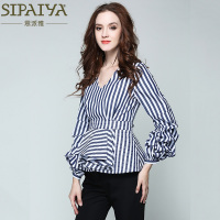 SIPAIYA 2017 New Fashion Striped Blouse Sexy V Neck Long Sleeve OL Blouse And Shirt Women