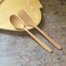 Natural Wood Spoon And Fork Dinnerware Coffee Tea Spoon Salad Fruit Fork Tableware
