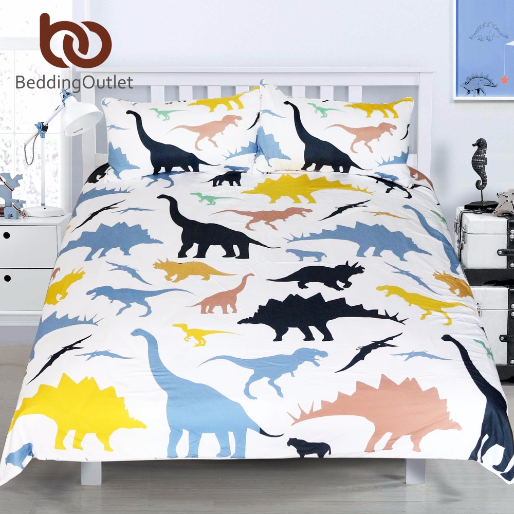 BeddingOutlet Dinosaur Bedding Sets Cartoon Kids Boy Animal Printed Colorful Duvet Cover <font><b>Bed</b></font> Set Twin Full Queen King Size
