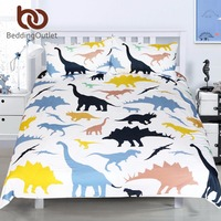 BeddingOutlet Cartoon Dinosaur Bedding Set Primitive Animal Printed Duvet Cover Set Microfiber Quilt Cover With Pillowcases