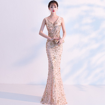 Champagne V-Neck Long Qipao Sequins Mermaid Cheongsam Dress Vestidos Chinos Oriental Wedding Gowns Party Dresses Size XS-XXL