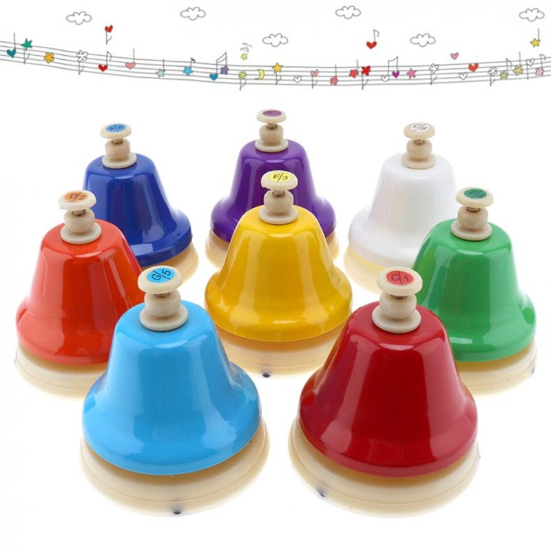 8 Notes Colorful Hand Bell Musical Instrument Set Musical Toy for Children Baby Early Education free ship 1 set 12pc children kids wooden metal percussion orff musical instrument set music early education