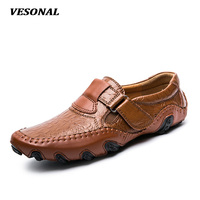 VESONAL 2017 Luxury Genuine Leather Flats Italian Mens Loafers Men Shoes Casual Velcro Fashion Slip On