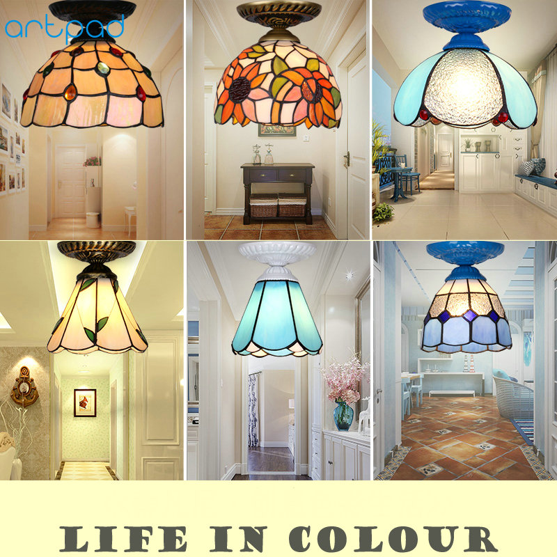 Modern Creative Glass Led Ceiling Light with 7W E27 Bulb Bedroom Bathroom Lighting Corridor Balcony Hallway Ceiling Lamp 8 inch yellow sunflowers down american tiffany glass ceiling decorated with a balcony hallway bathroom kitchen